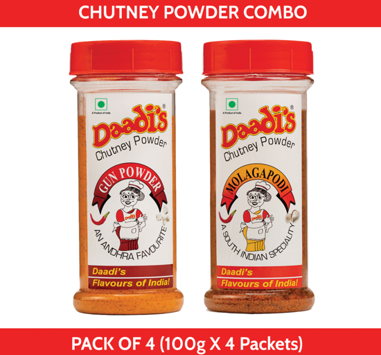 Combo Chutney Powder 100g (Pack Of 4) (Molagapodi & Gun Powder)